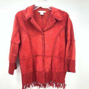 S.M.H. Womens Jacket Coat Red Fringe Collared Sz M